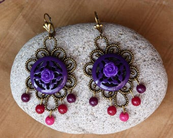 """Empress"" Purple and bronze earrings"