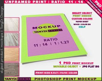 Unframed Print Ratio 11:14 PSD Mockup | Movable Empty Portrait Print UFP-1114-P | Wood Floor | 5.5x7 | 11x14 | 22x28