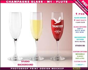 Champagne Glass M-1 Flute | Empty, White & Red Wine | Photoshop Print Mockup | Glass on Studio Background | Smart object Custom colors