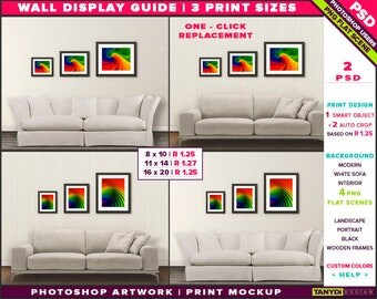 Wall Display Guide | 3 Print Sizes Photoshop Mockup | 8x10 11x14 16x20 | Portrait & Landscape Black frames | Modern White Sofa Smart object