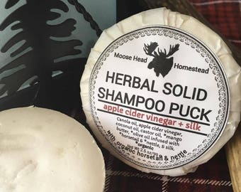 Herbal Solid Shampoo Puck with silk | insane lather, nettle and horsetail herbs, apple cider vinegar, silk, unscented