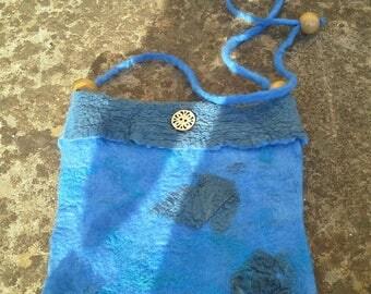 Blue nuno felted shoulder bag
