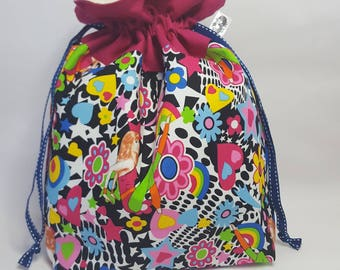 "Medium Lined DRAWSTRING Bag,DISCO CHICK, #87, 13""x8""x4"", project bag, storage bag"