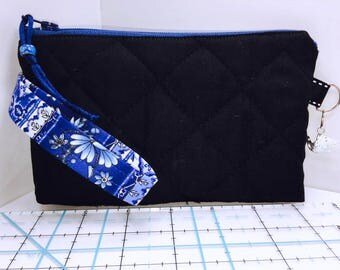Black QUILTED Wristlet, Phone Case, Women's Small Wallet, Multi-Purpose Wristlet, HEAVILY Padded, Coupon Organizer, Zipper Pouch