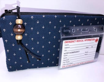 Men's EpiPen Case, Insulated Diabetic Suppy Bag, Epi Pen Alert, Masculine Travel Medical Bag, Insulated Snack Pouch, EpiPen Pouch