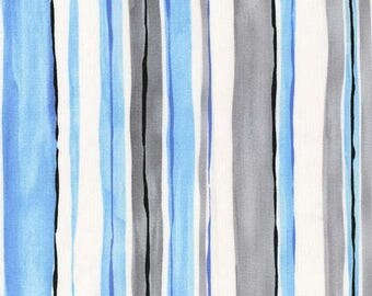 Cory Blue, Gray Cloud and White Stripe by Michael Miller - CX6674-CLOU-D