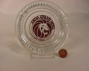 Clear Glass Ashtray * Vintage Old Collectible * Las Vegas Casino's Souvenir * MGM Grand Hotel