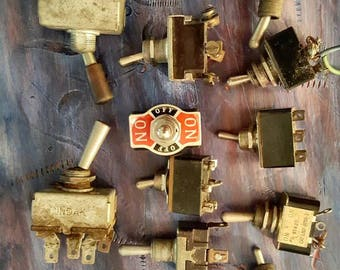 Old Toggle Switches/On Off Switches/Salvaged Electric Switches