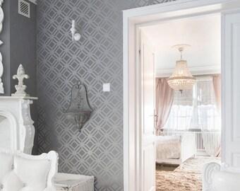 TILTED SQUARE Lattice All over Wallpaper Stencil / Reusable Stencil / DIY / Home Decor / Interiors / Feature Wall / Wallpaper alternative