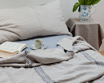 Linen Bed Cover, Grainsack,rustic heavy linen bedding, linen throw, king size linen bedding,coverlet,striped linen, grainsack