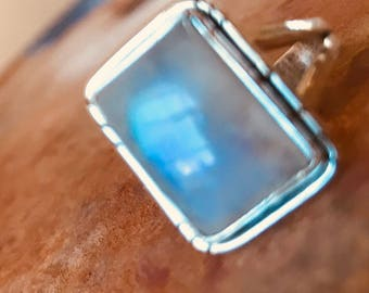 Rainbow Moonstone Ring 17 mm  Rectangle Moonstone Ring 925 Sterling Silver Classy Bezel Statement Fire flash Moonstone Bridal Ring Size 9.5