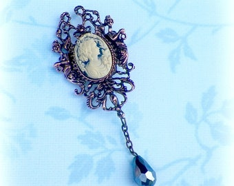Victorian Cameo Brooch Pin Blue Classic Lady Gothic Vintage Style Steampunk Antique Brass Style