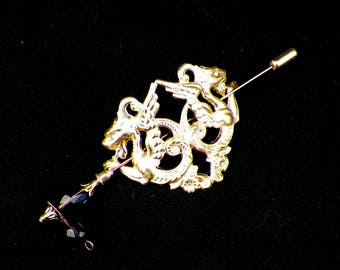 Dragon Shawl Pin Gold Brooch Hair Slide Fantasy Medieval Gothic Mother LARP Daenerys Style Scarf Pin Filigree Antique Victorian V Outlander