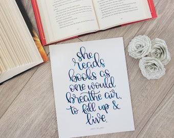 She Reads Books - 8x10 Print