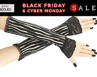 white and black long fingerless gloves, arm warmers  gothic, burlesque, vintage style, goth lace bridal gloves, womens evening gloves 1S