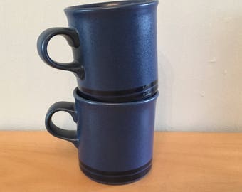 Vintage pair of Pfaltzgraff Midnight Blue handled coffee mugs / cups in midnight blue with darker blue double rim around base!