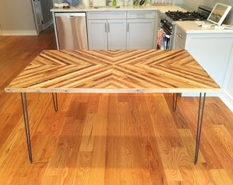 Reclaimed Lath Wood Dining Table with Steel Hairpin Legs