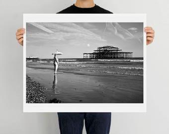 Brighton, West Pier, Seaside, England, Brighton Beach, print, art, photography, home decor, Brighton Pier, UK, black and white, fine art
