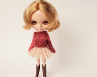Blythe mohair clothes, Navy blythe sweater, Mustard doll pullover, Short doll jumper, Blythe hand knitted outfit, Warm streetwear outfit