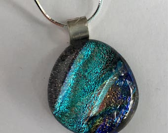 Multicolor Teardrop Dichroic Glass Necklace
