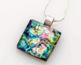 Green Swirls Dichroic Glass Necklace