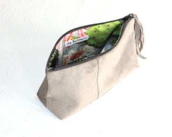 Grey Suede Cosmetic Pouch, Recycled Leather Cosmetic Bag, Leather Bag, Clutch, Suede Bag, Cosmetic Pouch, Pouch, Cosmetic Bag