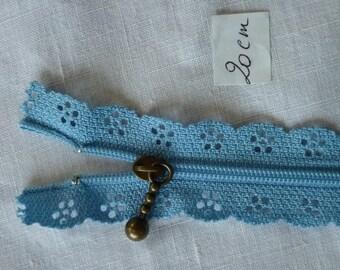 Zip up lace collar 7 Blue 20 cm