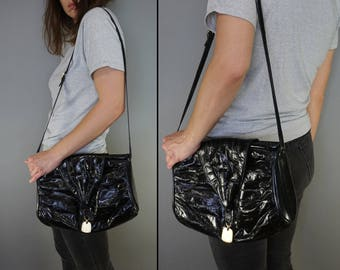 Vtg 70s Eel Skin Leather Purse Bag || Tote Leather Shoulder Bag Purse Cross Body || Black Leather Purse || Free Shipping in USA