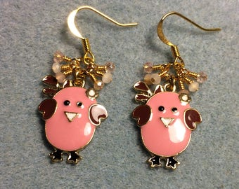 Pink, peach, and white enamel chick charm earrings adorned with tiny dangling pink, peach, and white  Chinese crystal beads.