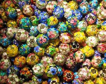 Random 10pieces of Lamp work 12mm Glaze Bead Flower Glass Beads Colorful Charm Bracelet DIY Jewelry bracelets Chain Necklace Japanese Style