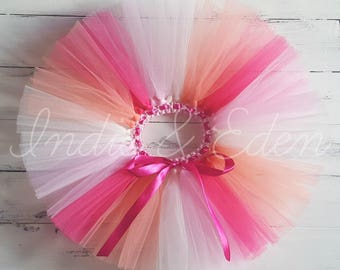 Pink Rainbow Tutu colours for girls birthday photo prop cake smash baby toddler skirt