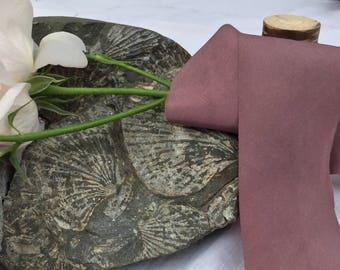 PLUM hand dyed silk habotai ribbon / plant dyed / eco dyed / wedding ribbon / styling ribbon / photo prop / pure silk ribbon
