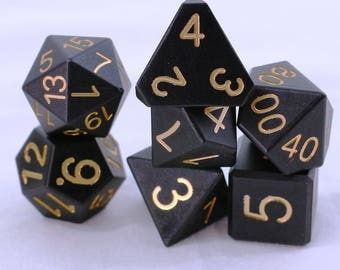 Zucati Dice Spectrum™ - 7pc set with case - Black with Yellow Numbers (P)