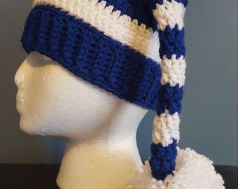 Hanukkah elf hat, photo prop, holiday hat, crochet, blue and white stripes