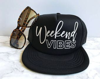 READY TO SHIP! Weekend Vibes Hat | Summer Trucker Hat | Bachelorette Hat | Summer Hat | Beach Hat | Bridal Party Hats | Mama Hat | Mom Hat