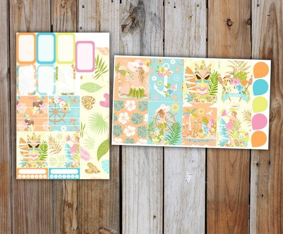 Aloha Planner Sticker MINI Kit | Summer Planner Stickers Kit for use with ERIN CONDREN Life Planner