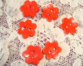 6 gorgeous bright red buttons, 50 years