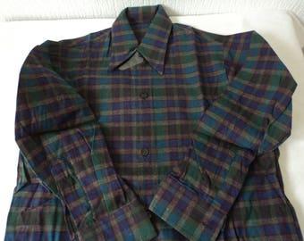 French vintage boy's western style plaid shirt size 30 (05407)