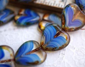 Heart of the Ocean, Heart Beads, Czech Beads, N1724
