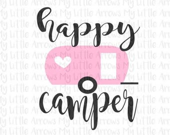 50% off - Happy camper SVG, DXF, EPS, png Files for Cutting Machines Cameo or Cricut - camping svg - retro camper svg  -womens shirt - glamp
