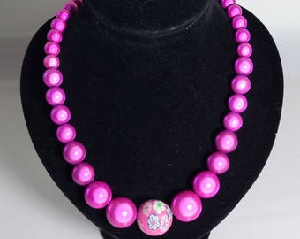 Unique Fuchsia/HotPink Miracle bead/Glow bead statement necklace