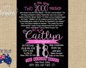Printable 18th Birthday Invitation Glitter Pink - Born in 2000 - Milestone Birthday - Eighteenth - The Year 2000 - 18th Birthday - Surprise