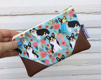 Floral Corgi Mini Tassel Zipper Clutch