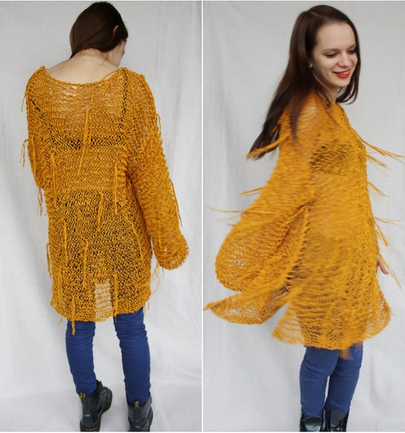Knitted Fringe sweater Slouchy Mustard loose knit Grunge