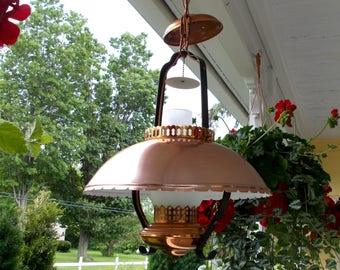 Vintage Copper Ceiling Hurricane Lamp