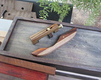 Dulcimer Noter And Capo Set, Bocote, Cocobolo And Walnut, Mountain Dulcimer Accessories With Brass Hardware