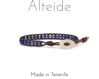 Anklet El Bollullo - Alteide - made in Tenerife - surf inspired - 925 Silver - man woman - Lapislazzuli