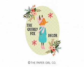 fox logo design girl fox logo quirky fox logo photography logo premade fox logo children's logo baby logo knitting shop logo woodland logo