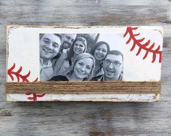 Sports Frame, Rustic Baseball Frame, Distressed Wood Frame, Sports frame, Rustic Photo Frame, Wood Block Frame
