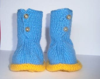 Blue and yellow hand knitted wool baby boots size 3 months